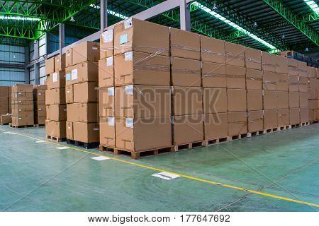Stack of carton at logistics warehouse, transportation