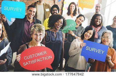 People happy holding speech bubble