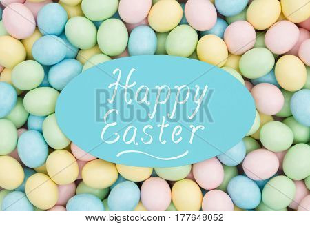 Old fashion Easter greeting Retro Easter eggs candy with text Happy Easter
