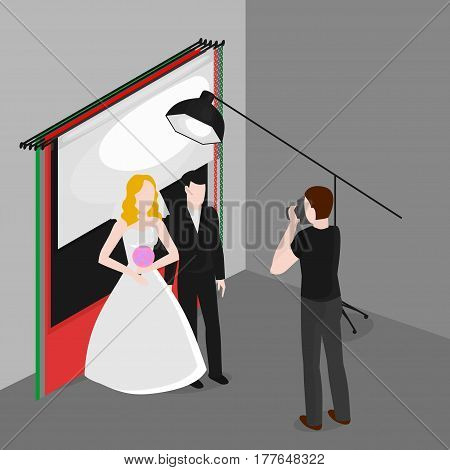 Flat isometric newlyweds photographing . Bride and groom in photo studio. Occupation of wedding photographer