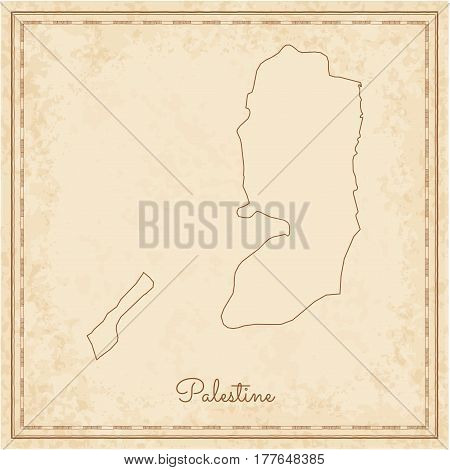 Palestine Region Map: Stilyzed Old Pirate Parchment Imitation. Detailed Map Of Palestine Regions. Ve