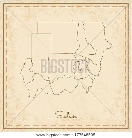 Sudan Region Map: Stilyzed Old Pirate Parchment Imitation. Detailed Map Of Sudan Regions. Vector Ill