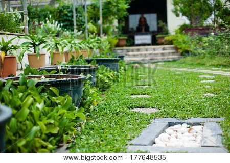Plants, flowerpots, flowerbed the largest Buddhist temple in South East Asia: Kek Lok Si Malaysia