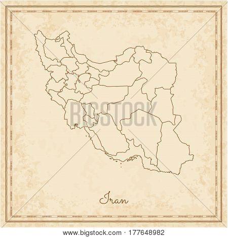 Iran Region Map: Stilyzed Old Pirate Parchment Imitation. Detailed Map Of Iran Regions. Vector Illus