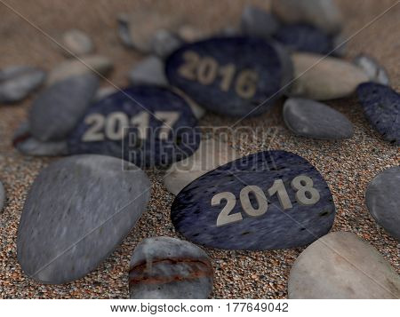 3d rendering of pebble stones with text 2016 2017 & 2018 on beach