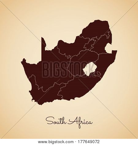 South Africa Region Map: Retro Style Brown Outline On Old Paper Background. Detailed Map Of South Af