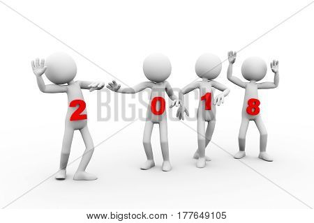 3d rendering of men dancing on new year 2018 holding event. 3d white person people man