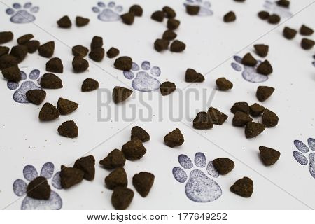 Animal Pet Biscuits/Crackers on a paw print background