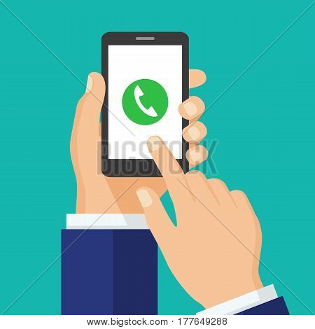 Phone call button on smartphone screen. Mobile phone call consept. Hand holding smartphone finger touching screen. Answer the call. Creative flat design vector illustration.