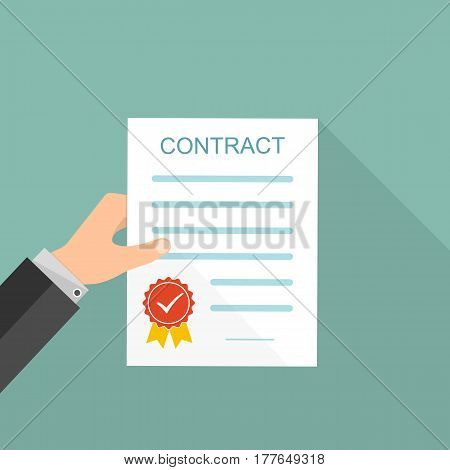 The paper contract in the hands in flat design. Vector illustration. Concept of a successful transaction