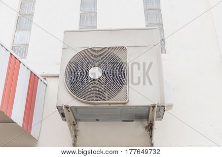 Air compressors heat pump on the wall