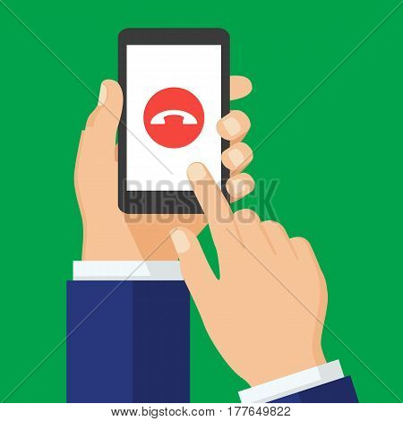 Decline phone call button on smartphone screen. Mobile phone call consept. Reject call. Hand holding smartphone finger touching screen. Creative flat design vector illustration.