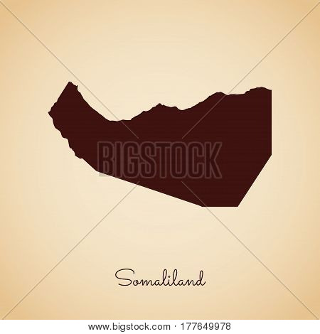 Somaliland Region Map: Retro Style Brown Outline On Old Paper Background. Detailed Map Of Somaliland