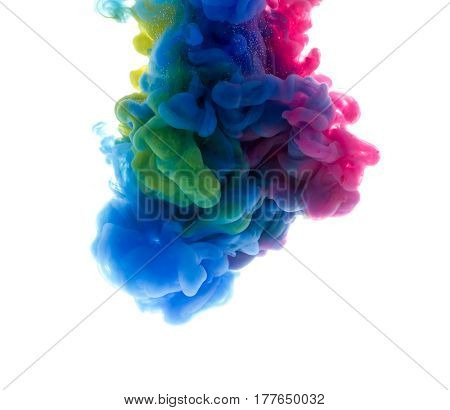 Colors Dropped Into Liquid And Photographed While In Motion. Ink Shape Or Swirling In Water For Desi