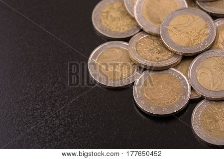 Close up top view image of large amount of Euro money coins.