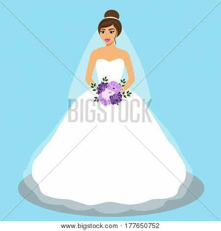 Wedding card with the bride on a blue background. Bride. Bride in wedding dress with a bouquet. Vector illustration.