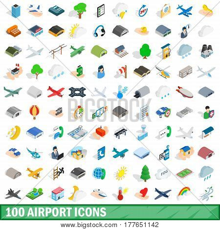 100 airport icons set in isometric 3d style for any design vector illustration