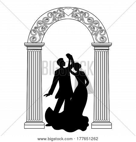 Wedding arch with bride and groom isolated on white background. Wedding design. Wedding decoration. Vector illustration.