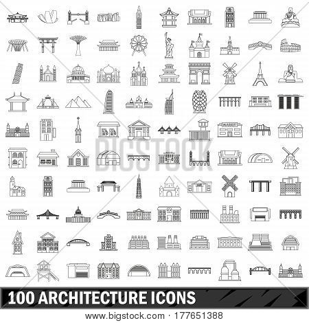 100 architecture set in outline style for any design vector illustration