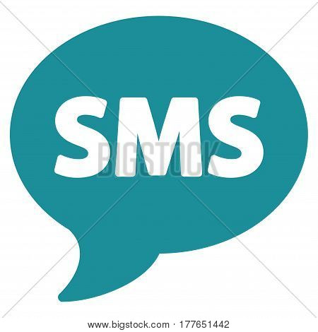 SMS vector icon. Flat soft blue symbol. Pictogram is isolated on a white background. Designed for web and software interfaces.