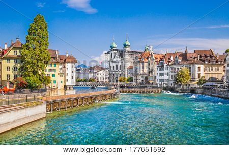 Historic Town Of Lucerne In Summer, Switzerland