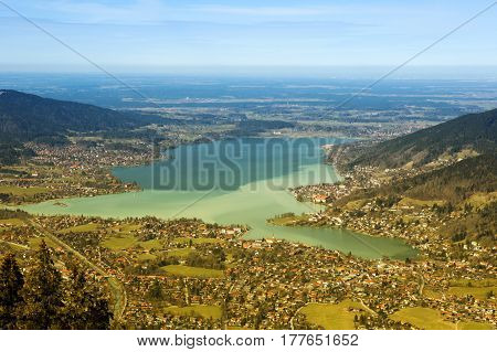 panoramic view of bavaria lake tegernsee and surrounding towns