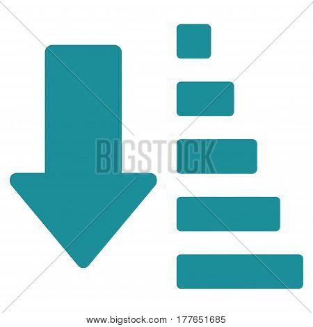 Sort Down Arrow vector icon. Flat soft blue symbol. Pictogram is isolated on a white background. Designed for web and software interfaces.