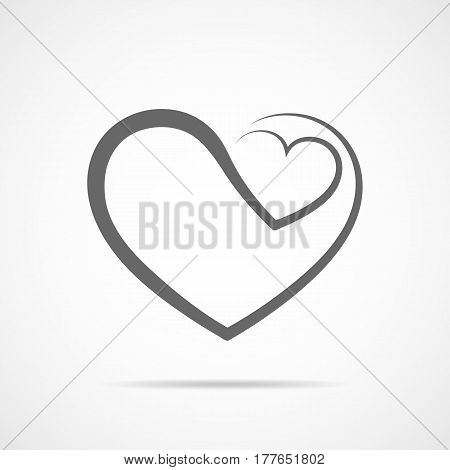 Abstract heart shape outline. Vector illustration. Gray heart icon in flat style. The heart as a symbol of love.