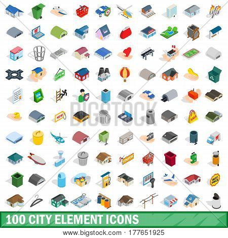 100 city element icons set in isometric 3d style for any design vector illustration