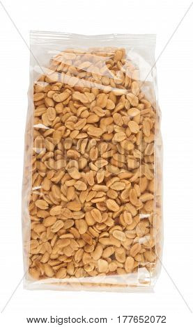 Roasted and salted peanuts in transparent package over white
