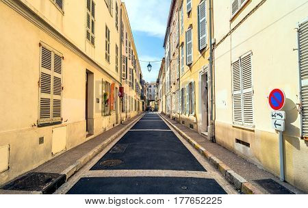 Antibes, France - June 27, 2016: day view of Rue du Dr Rostan street in Antibes France. Antibes is a popular seaside town in the heart of the Cote d'Azur.