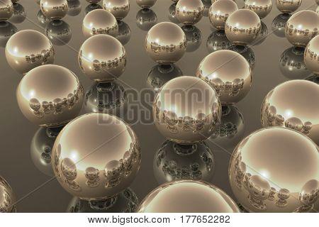 Balls Golden Reflection Sky