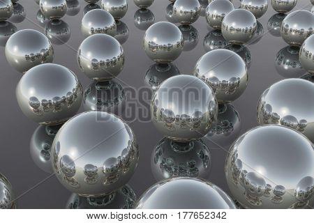 Balls Silver Reflection Sky