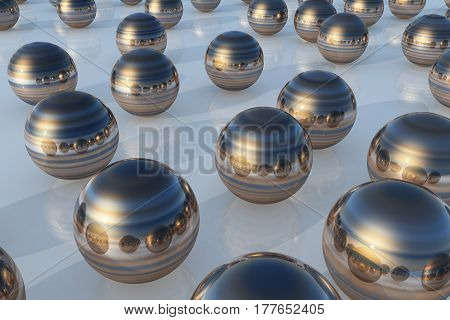 Steel Ball Reflection Blue