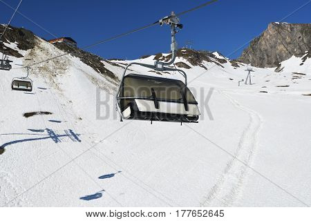 Cableway at mountains ski resort in winter