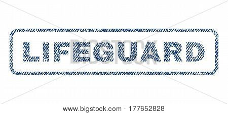 Lifeguard text textile seal stamp watermark. Blue jeans fabric vectorized texture. Vector caption inside rounded rectangular banner. Rubber sticker with fiber textile structure.