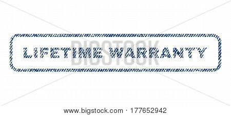 Lifetime Warranty text textile seal stamp watermark. Blue jeans fabric vectorized texture. Vector tag inside rounded rectangular shape. Rubber sign with fiber textile structure.