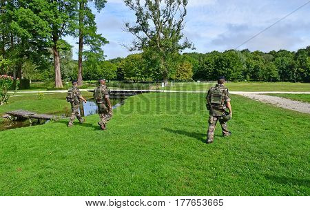 Chantilly France - august 14 2016 : patrol in the park of the castle of Chantilly