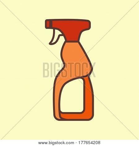 Household cleaning supplies isolated icon in outline flat style. Washing tool vector cartoon illustration. Graphic concept for web sites, banner, mobile apps, infographics.