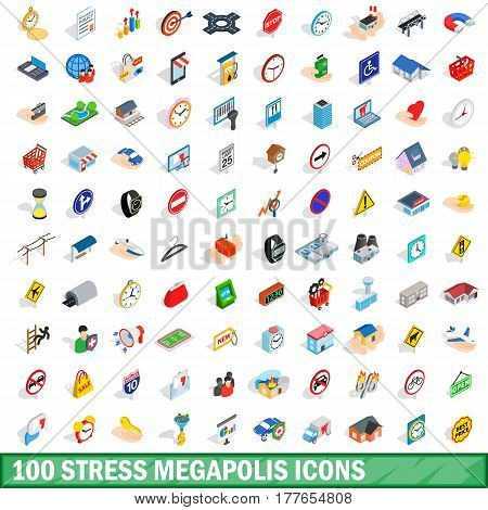 100 stress megapolis icons set in isometric 3d style for any design vector illustration