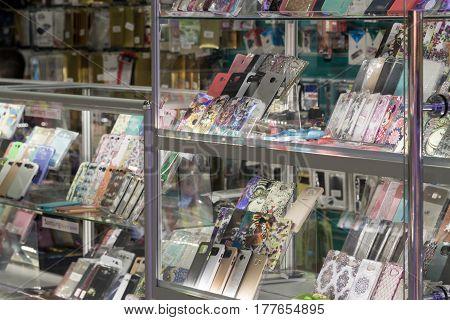 Volgograd, Russia - November 03.2016. Cases for smartphones in a shopping complex Diamant