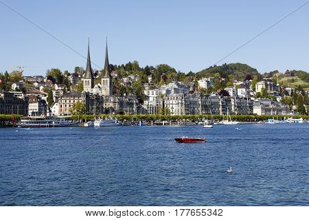 Lucerne Switzerland - May 05 2016: The variety of architecture together with two high church towers shows variety of sightseeing attractions of the city that is located by the Lake Lucerne