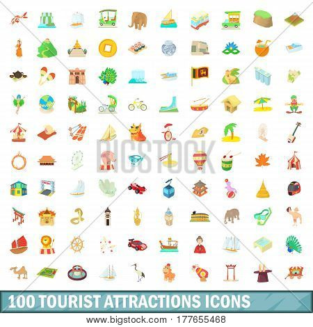 100 tourist attraction icons set in cartoon style for any design vector illustration