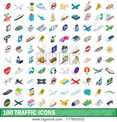 100 traffic icons set in isometric 3d style for any design vector illustration