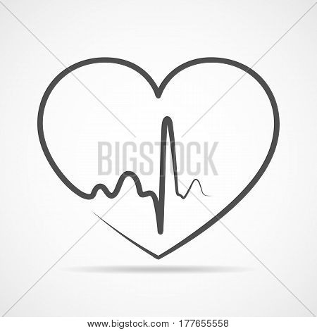 Gray heart icon with sign heartbeat. Vector illustration. Heart sign in flat design.