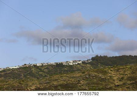 Stock photo of Oahu Hawaii Kai a residential neighborhood with homes on a mountain