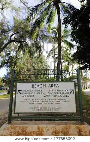 Stock photo of Honolulu Hawaii beach area park