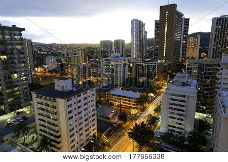 Stock photo of highrise buildings in Waikiki shot in the morning during sunrise