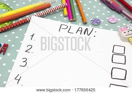 Plan with numbers written on a piece of paper