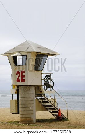 Stock photo of a Waikiki Beach Hawaii lifeguard tower with view fo the Pacific Ocean